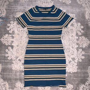 W118 Walter Baker Teal Striped casual Fitted dress